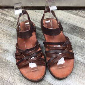 Chaco Fallon Java Brown Leather Sandals Size 6